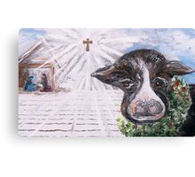 Christmas Cow - Oh to Have Been There... Canvas Print