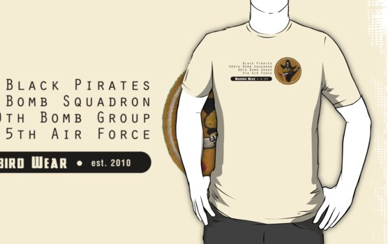 Black Pirates 400th SQ - 90th BG - 5th AF    Emblem (Black) by warbirdwear