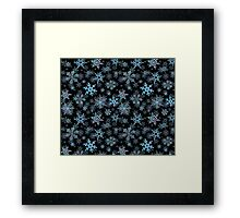 Embroidered Snowflakes on dark Framed Print