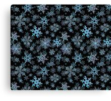 Embroidered Snowflakes on dark Canvas Print