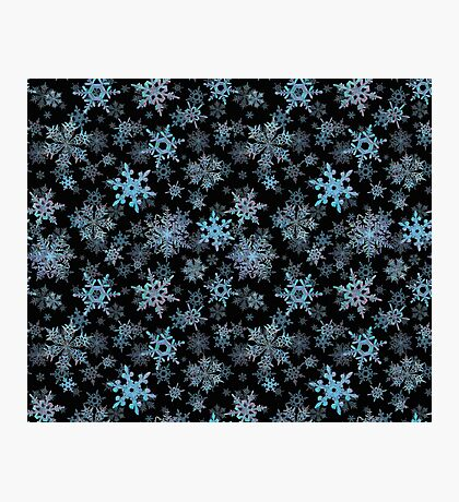 Embroidered Snowflakes on dark Photographic Print