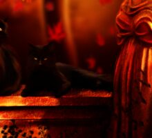 Autumn Black Cats Sticker