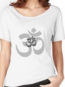 Om Aum symbol - grey Women's Relaxed Fit T-Shirt