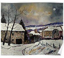 Snow in Gendron Belgium Poster