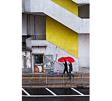 Red Umbrellas in the Street Photographic Print