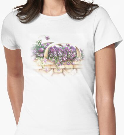 Basket of Flowers Womens Fitted T-Shirt