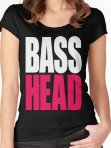 Bass Head (white/magenta)  Women's Fitted Scoop T-Shirt