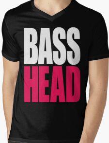 Bass Head (white/magenta)  Mens V-Neck T-Shirt