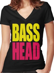Bass Head (yellow/magenta)  Women's Fitted V-Neck T-Shirt