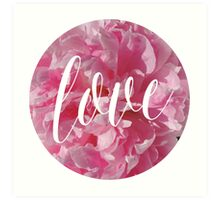 Bright Pink Peonies with Love Typography Art Print