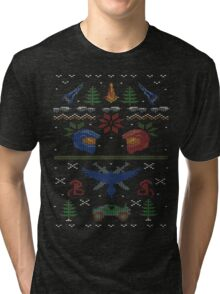 Ugly Red vs Blue Christmas Sweater Tri-blend T-Shirt