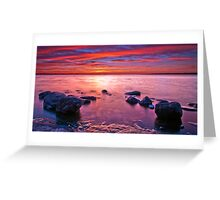 Sun Setting Behind the Rocks Greeting Card