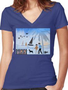 Seaside Stroll Women's Fitted V-Neck T-Shirt