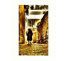 Old lady, alleyway, Viterbo, Italy Art Print