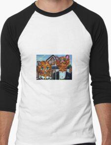 American Gothic Cats - A Parody Men's Baseball ¾ T-Shirt