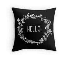 Wreath- Hello Throw Pillow