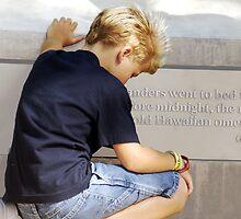 Boy Praying in Pearl Harbor  by MyraVeresPhoto