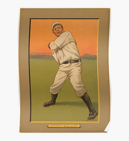Benjamin K Edwards Collection Bob Groom Washington Nationals baseball card portrait Poster
