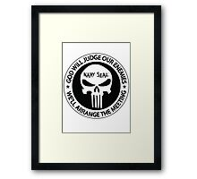god will judge our enemies we'll arrange the meeting - white Framed Print