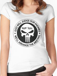 god will judge our enemies we'll arrange the meeting - white Women's Fitted Scoop T-Shirt
