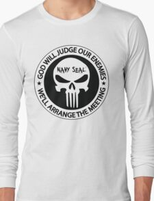 god will judge our enemies we'll arrange the meeting - white Long Sleeve T-Shirt