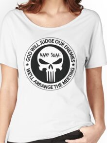 god will judge our enemies we'll arrange the meeting - white Women's Relaxed Fit T-Shirt