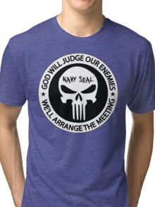 god will judge our enemies we'll arrange the meeting - white Tri-blend T-Shirt