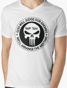 god will judge our enemies we'll arrange the meeting - white Mens V-Neck T-Shirt