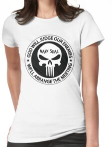 god will judge our enemies we'll arrange the meeting - white Womens Fitted T-Shirt