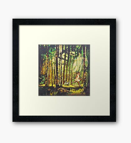 Forest Path Landscape Acrylic Painting, Tree Art, Girl Dog Framed Print