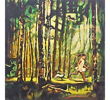 Forest Path Landscape Acrylic Painting, Tree Art, Girl Dog Photographic Print