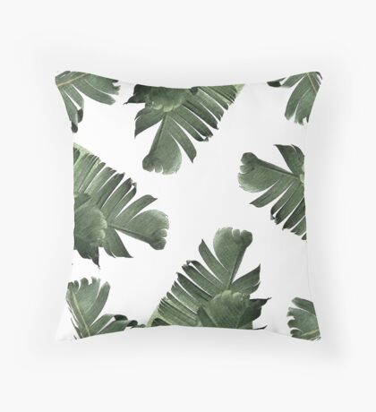 Banana Leaf Frenzy #redbubble Throw Pillow