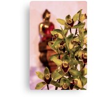 Buddha and orchids Canvas Print
