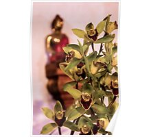 Buddha and orchids Poster