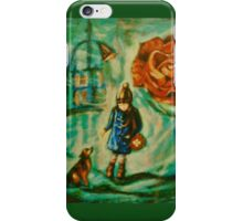 Little Girl w Dog Red Rose Lamppost Painting iPhone Case/Skin