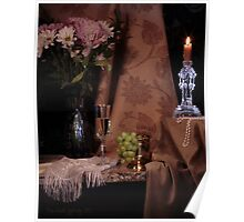 Flowers, Grapes and New Candlestick Poster