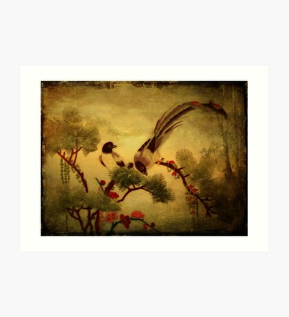 Embroidered Birds- Textured Art Print