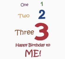 1 2 3 Happy Birthday to Me Kids Tee