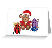 Christmas Teddy Bear in Santa Outfit Greeting Card