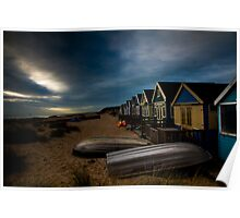 Beach Huts on Mudeford Spit Poster