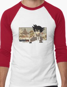 Son Goku on Mt. Paozu Men's Baseball ¾ T-Shirt