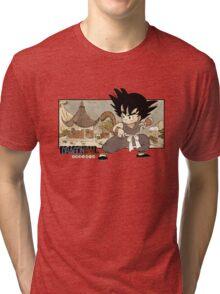 Son Goku on Mt. Paozu Tri-blend T-Shirt