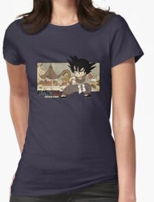 Son Goku on Mt. Paozu Womens Fitted T-Shirt