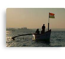 Dolphin Boat with Indian Flag Palolem Canvas Print