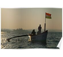 Dolphin Boat with Indian Flag Palolem Poster