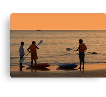 About to go Kayaking Palolem Canvas Print
