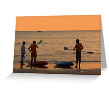 About to go Kayaking Palolem Greeting Card