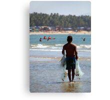 Fisherman Carrying Nets Palolem Canvas Print