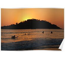 In the Sea at Sunset Palolem Poster