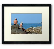 Sitting on Rocks Palolem Framed Print